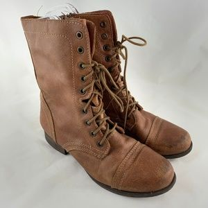 Troopa combat boots brown leather distressed punk
